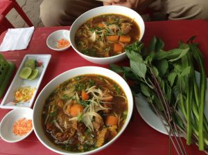 One of many great meals in Bien Hoa - fresh greens are essential to Vietnamese  cooking and eating.