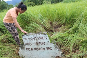 Belinda at her father's grave