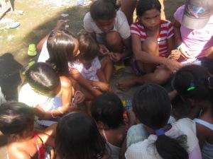 Children beading