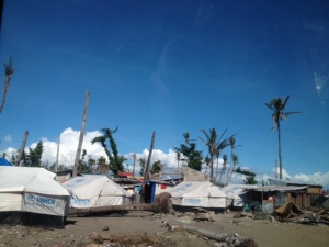 Tent city under the coconuts