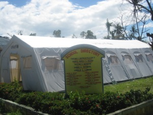Tent classrooms from UNHCR on Salvacion