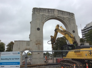 The World War I memorial arch on the Bridge of Remembrance under repair