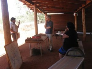 Doug talks about the Arrernte way of life to visitors to the Alice Springs Desert Park