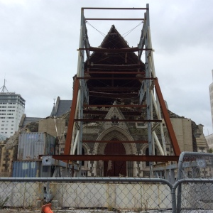 The Cathedral facade is gone and with it the rose window.