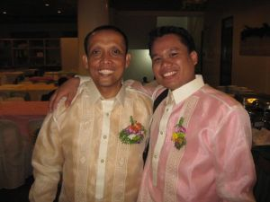 "As are the men's barongs!  The colored ""camisa chino"" worn under the sheer barong gives the color."