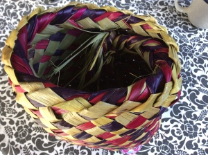 A basket woven from flax.