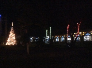 Lights stream from the church at La Salette