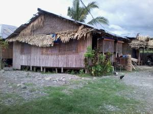 Teresa's former home in Bugasong, made of bamboo, with a roof of palm leaves and galvanized iron sheets.