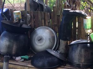Pots and boots drying outside