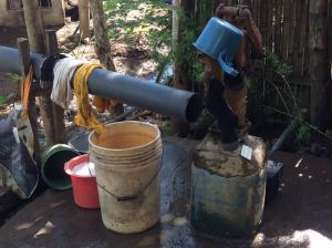 """Water pump with bamboo """"hose"""""""
